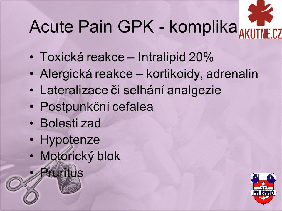 Acute Pain GPK - komplikace Toxická reakce – Intralipid 20% Alergická reakce – kortikoidy, adrenalin Lateralizace či selhání analgezie Postpunkční cefalea Bolesti zad Hypotenze Motorický blok Pruritus