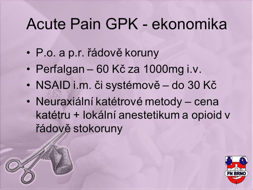 Acute Pain GPK - ekonomika P.o. a p.r. řádově koruny Perfalgan – 60 Kč za 1000mg i.v. NSAID i.m. či systémově – do 30 Kč Neuraxiální katétrové metody