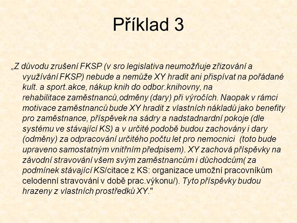 """Příklad 3 """"Z důvodu zrušení FKSP (v sro legislativa neumožňuje zřizování a využívání FKSP) nebude a nemůže XY hradit ani přispívat na pořádané kult."""