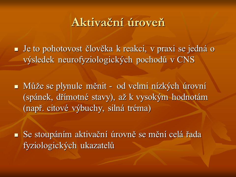 Aktivační úroveň Je to pohotovost člověka k reakci, v praxi se jedná o výsledek neurofyziologických pochodů v CNS Je to pohotovost člověka k reakci, v praxi se jedná o výsledek neurofyziologických pochodů v CNS Může se plynule měnit - od velmi nízkých úrovní (spánek, dřímotné stavy), až k vysokým hodnotám (např.