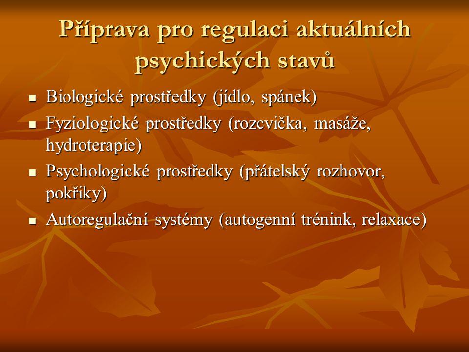 Příprava pro regulaci aktuálních psychických stavů Biologické prostředky (jídlo, spánek) Biologické prostředky (jídlo, spánek) Fyziologické prostředky (rozcvička, masáže, hydroterapie) Fyziologické prostředky (rozcvička, masáže, hydroterapie) Psychologické prostředky (přátelský rozhovor, pokřiky) Psychologické prostředky (přátelský rozhovor, pokřiky) Autoregulační systémy (autogenní trénink, relaxace) Autoregulační systémy (autogenní trénink, relaxace)