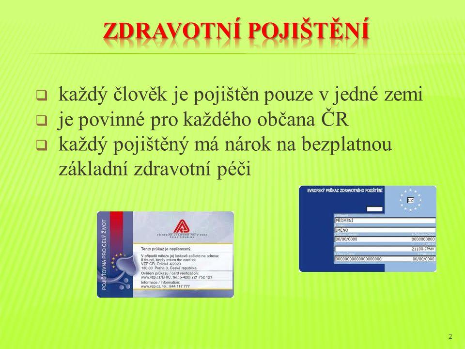  každý člověk je pojištěn pouze v jedné zemi  je povinné pro každého občana ČR  každý pojištěný má nárok na bezplatnou základní zdravotní péči 2
