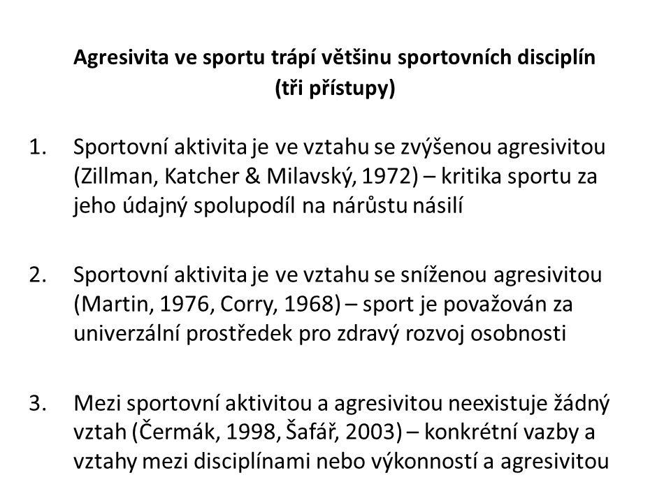 Agresivita ve sportu trápí většinu sportovních disciplín (tři přístupy) 1.Sportovní aktivita je ve vztahu se zvýšenou agresivitou (Zillman, Katcher & Milavský, 1972) – kritika sportu za jeho údajný spolupodíl na nárůstu násilí 2.Sportovní aktivita je ve vztahu se sníženou agresivitou (Martin, 1976, Corry, 1968) – sport je považován za univerzální prostředek pro zdravý rozvoj osobnosti 3.Mezi sportovní aktivitou a agresivitou neexistuje žádný vztah (Čermák, 1998, Šafář, 2003) – konkrétní vazby a vztahy mezi disciplínami nebo výkonností a agresivitou