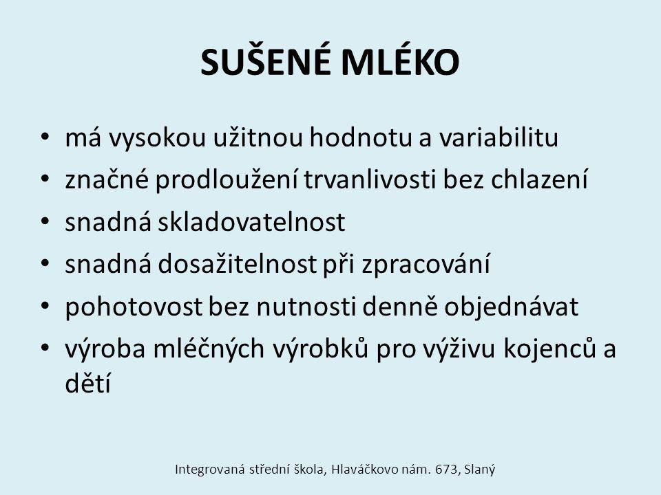Způsoby sušení mléka na válcíchv rozprašovacích komorách Integrovaná střední škola, Hlaváčkovo nám.