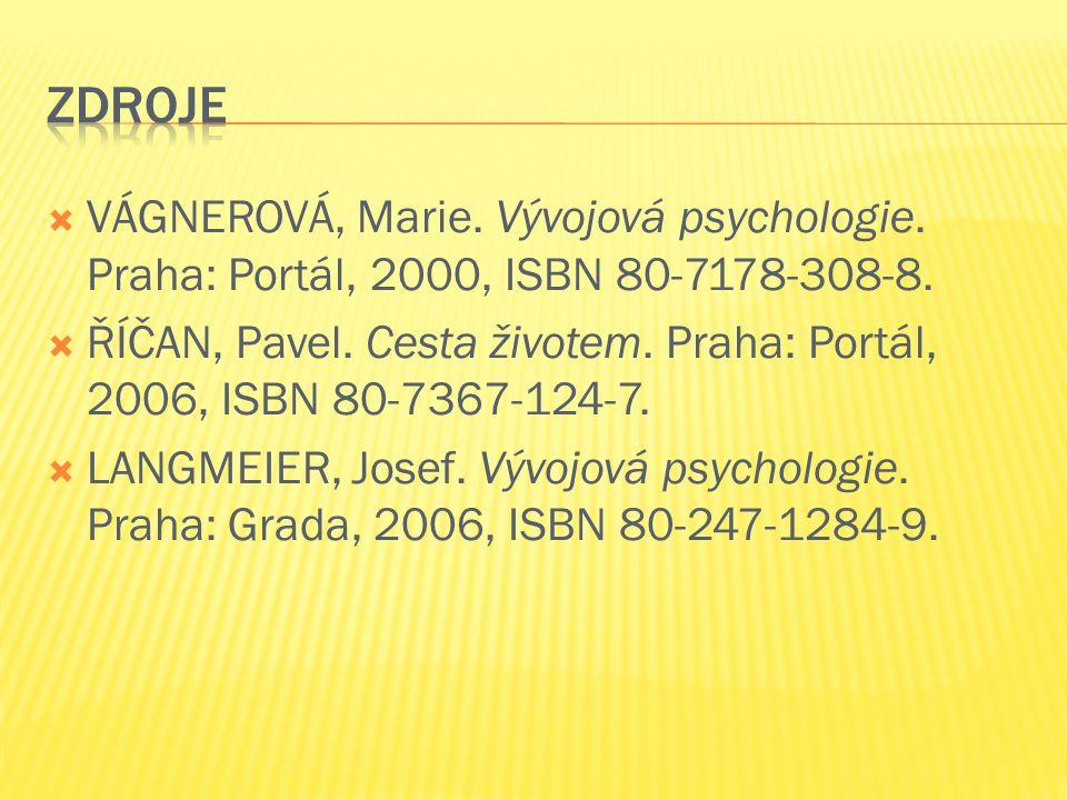  VÁGNEROVÁ, Marie.Vývojová psychologie. Praha: Portál, 2000, ISBN 80-7178-308-8.