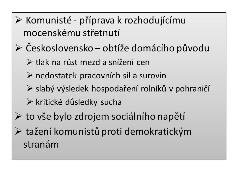  Komunisté - příprava k rozhodujícímu mocenskému střetnutí  Československo – obtíže domácího původu  tlak na růst mezd a snížení cen  nedostatek pracovních sil a surovin  slabý výsledek hospodaření rolníků v pohraničí  kritické důsledky sucha  to vše bylo zdrojem sociálního napětí  tažení komunistů proti demokratickým stranám  Komunisté - příprava k rozhodujícímu mocenskému střetnutí  Československo – obtíže domácího původu  tlak na růst mezd a snížení cen  nedostatek pracovních sil a surovin  slabý výsledek hospodaření rolníků v pohraničí  kritické důsledky sucha  to vše bylo zdrojem sociálního napětí  tažení komunistů proti demokratickým stranám