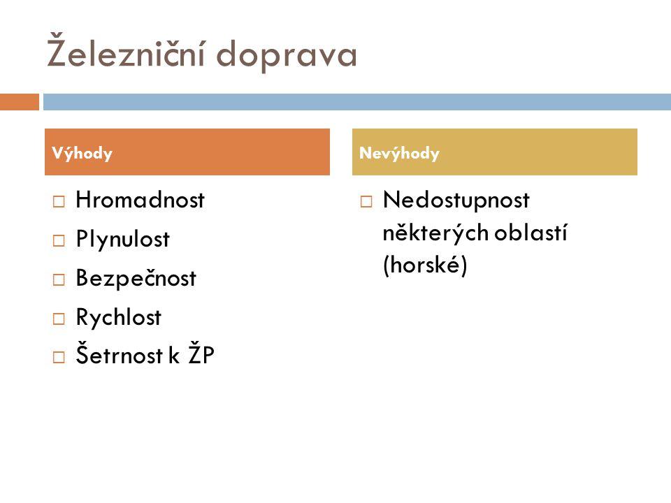 Železniční doprava  Hromadnost  Plynulost  Bezpečnost  Rychlost  Šetrnost k ŽP  Nedostupnost některých oblastí (horské) VýhodyNevýhody