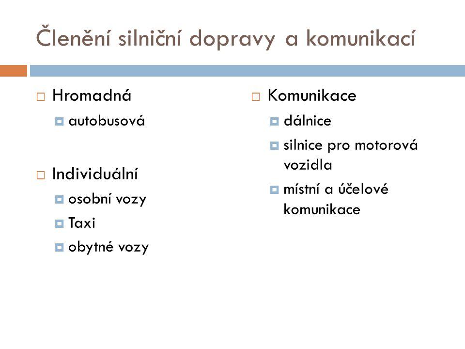 Členění silniční dopravy a komunikací  Hromadná  autobusová  Individuální  osobní vozy  Taxi  obytné vozy  Komunikace  dálnice  silnice pro m