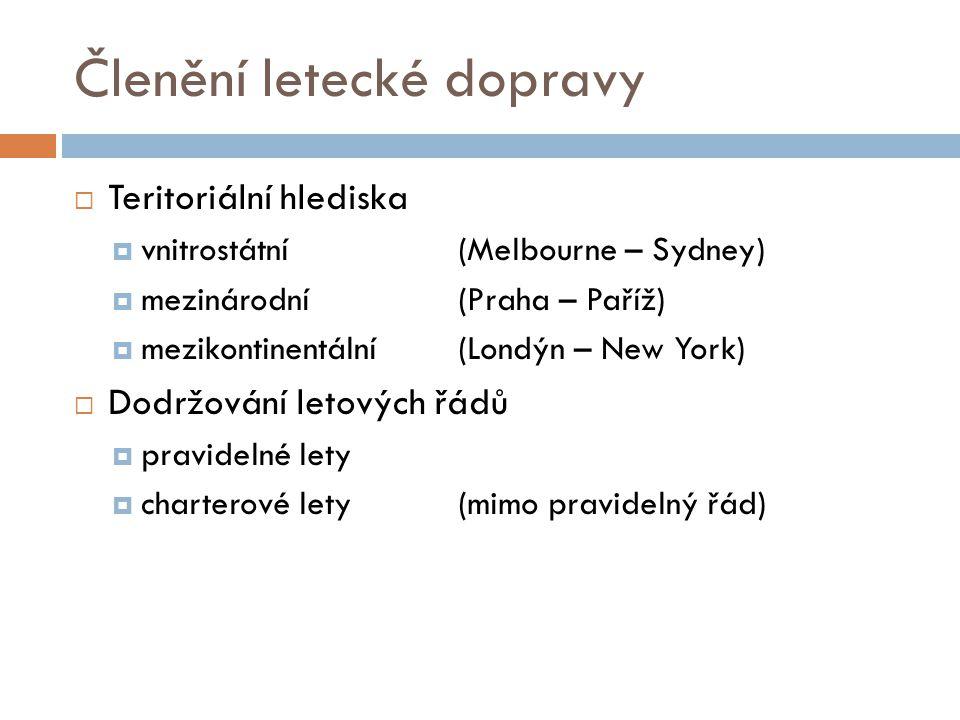 Členění letecké dopravy  Teritoriální hlediska  vnitrostátní(Melbourne – Sydney)  mezinárodní(Praha – Paříž)  mezikontinentální(Londýn – New York)