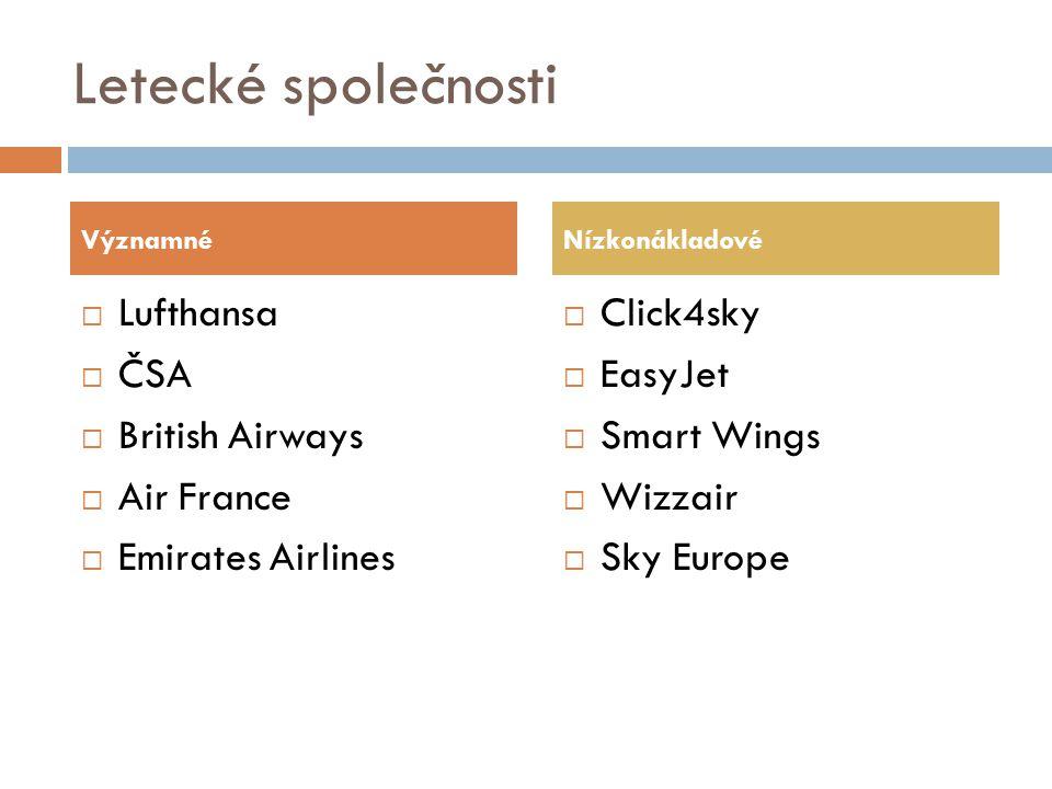 Letecké společnosti  Lufthansa  ČSA  British Airways  Air France  Emirates Airlines  Click4sky  EasyJet  Smart Wings  Wizzair  Sky Europe Vý