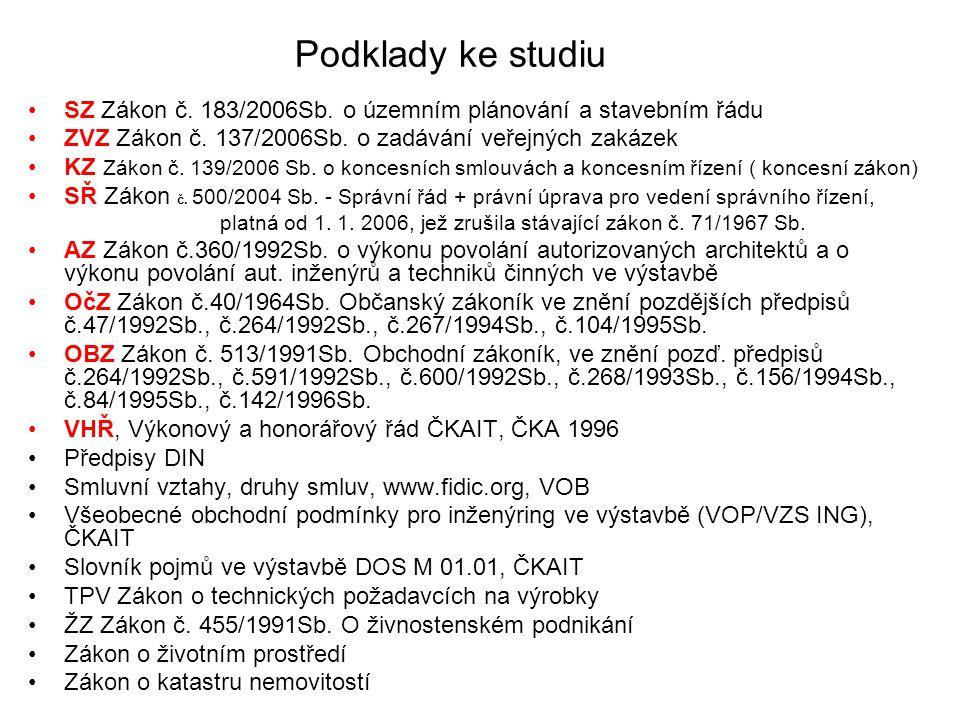 Podklady ke studiu SZ Zákon č. 183/2006Sb. o územním plánování a stavebním řádu ZVZ Zákon č. 137/2006Sb. o zadávání veřejných zakázek KZ Zákon č. 139/