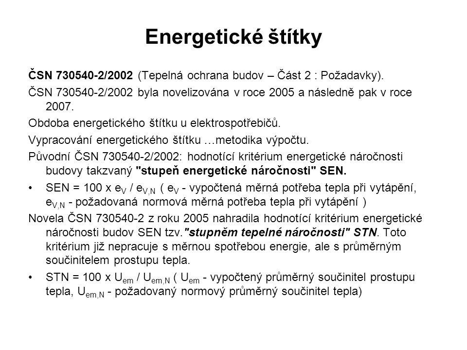 Energetické štítky ČSN 730540-2/2002 (Tepelná ochrana budov – Část 2 : Požadavky). ČSN 730540-2/2002 byla novelizována v roce 2005 a následně pak v ro