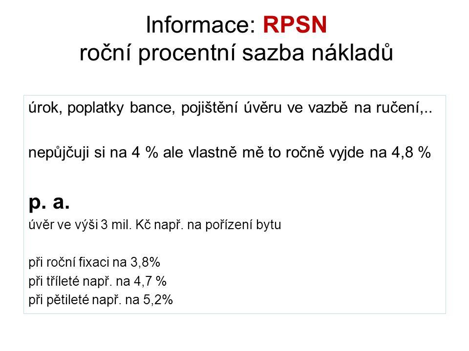 Informace: RPSN roční procentní sazba nákladů úrok, poplatky bance, pojištění úvěru ve vazbě na ručení,.. nepůjčuji si na 4 % ale vlastně mě to ročně