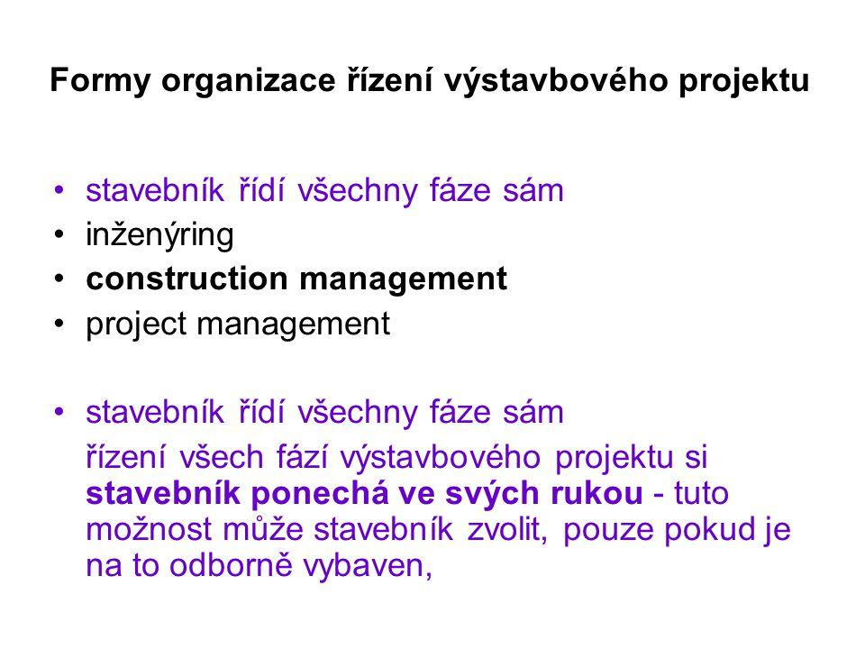 Formy organizace řízení výstavbového projektu stavebník řídí všechny fáze sám inženýring construction management project management stavebník řídí vše
