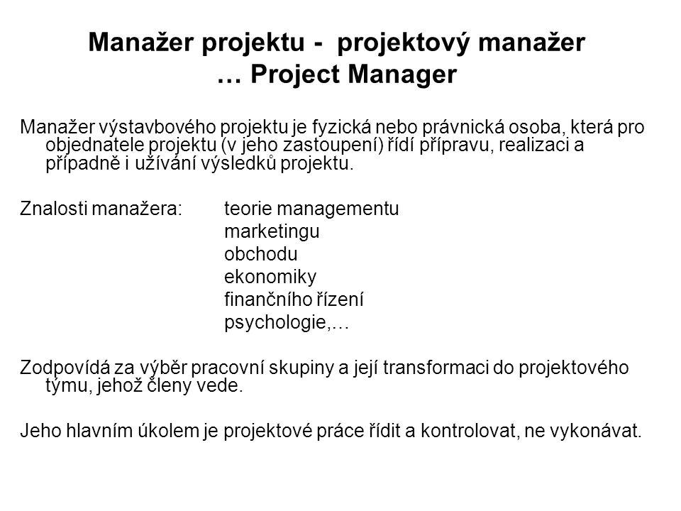 Manažer projektu - projektový manažer … Project Manager Manažer výstavbového projektu je fyzická nebo právnická osoba, která pro objednatele projektu