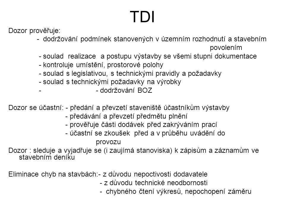 TDI Dozor prověřuje: - dodržování podmínek stanovených v územním rozhodnutí a stavebním povolením - soulad realizace a postupu výstavby se všemi stupn