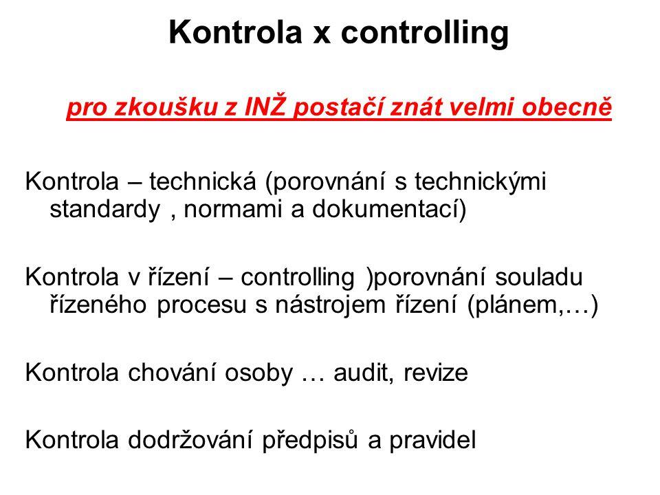 Kontrola x controlling pro zkoušku z INŽ postačí znát velmi obecně Kontrola – technická (porovnání s technickými standardy, normami a dokumentací) Kon