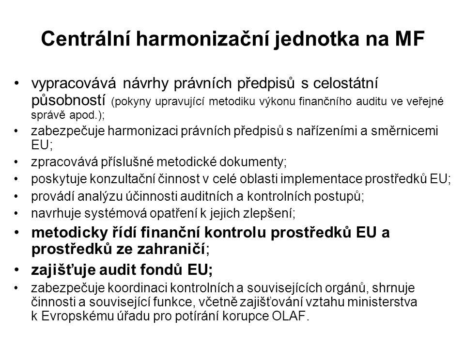 Centrální harmonizační jednotka na MF vypracovává návrhy právních předpisů s celostátní působností (pokyny upravující metodiku výkonu finančního audit