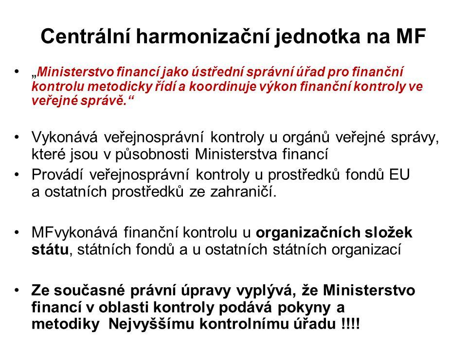 """Centrální harmonizační jednotka na MF """" Ministerstvo financí jako ústřední správní úřad pro finanční kontrolu metodicky řídí a koordinuje výkon finanč"""
