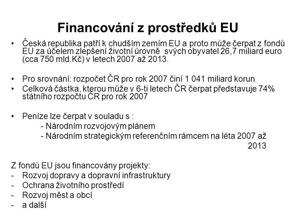 Financování z prostředků EU Česká republika patří k chudším zemím EU a proto může čerpat z fondů EU za účelem zlepšení životní úrovně svých obyvatel 2