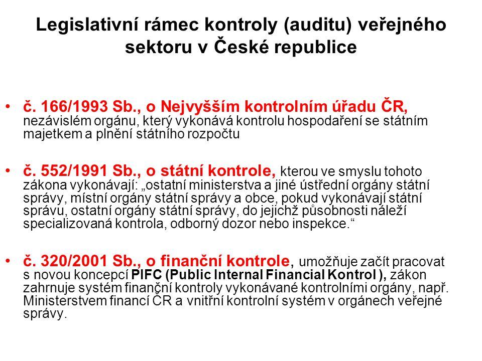 Legislativní rámec kontroly (auditu) veřejného sektoru v České republice č. 166/1993 Sb., o Nejvyšším kontrolním úřadu ČR, nezávislém orgánu, který vy