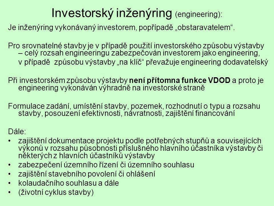 """Investorský inženýring (engineering): Je inženýring vykonávaný investorem, popřípadě """"obstaravatelem"""". Pro srovnatelné stavby je v případě použití inv"""