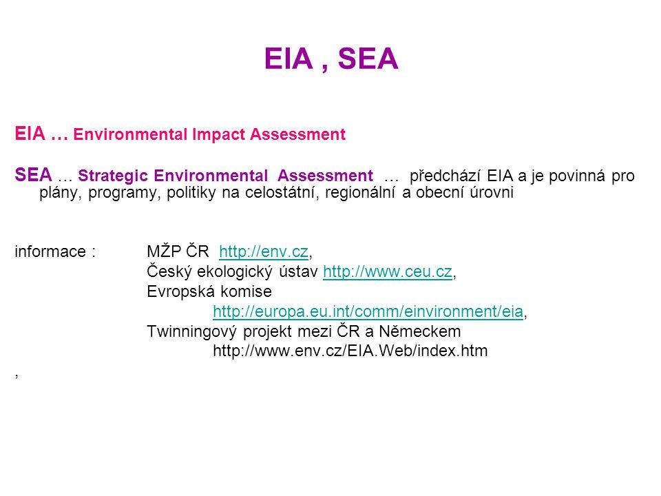 EIA, SEA EIA … Environmental Impact Assessment SEA … Strategic Environmental Assessment … předchází EIA a je povinná pro plány, programy, politiky na