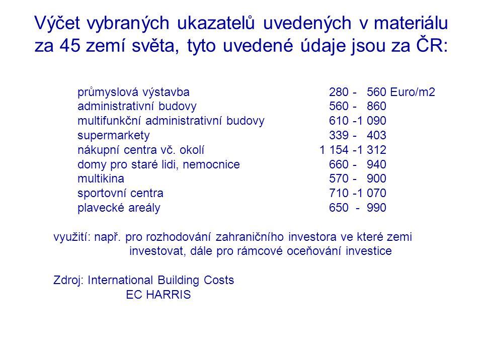 Výčet vybraných ukazatelů uvedených v materiálu za 45 zemí světa, tyto uvedené údaje jsou za ČR: průmyslová výstavba 280 - 560 Euro/m2 administrativní