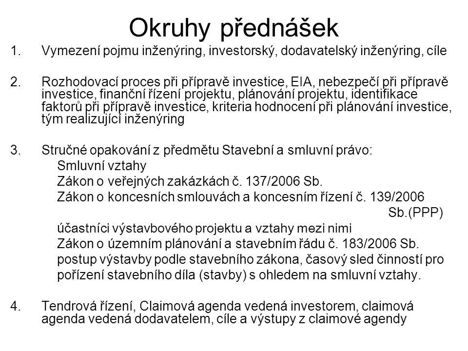 5.Smlouvy v souladu s podmínkami VOB a BGB, zadávací a smluvní řád pro stavební výkony (Vergabe und Vertragsordnung für Bauleistungen VOB), Všeobecné podmínky pro zadávání stavebních výkonů, Všeobecné smluvní podmínky pro provádění stavebních výkonů,Bürgerliches Gesetzbuch – BGB, Handelsgesetzbuch – HGB 6.NOVÉ VŠEOBECNÉ OBCHODNÍ PODMÍNKY, vady ve stavebnictví – řešení dle VOB, vady právní, vady zjevné, vady skryté, vady faktické, vady fyzické povahy, zakrývání prací 7.Normy ISO, Mezinárodní organizace pro normalizaci 8.Systém organizace výstavbového projektu, systém jediného dodavatele, systém více dodavatelů, kombinace předchozích možností, způsob výstavby dodavatelský, investorský, kombinovaný s vyšším dodavatelem, s vyšším dodavatelem na klíč,….organizační struktura výstavbového projektu, dodavatelské systémy - příklad klasického dodavatelského systému, dodavatelské systémy velkých staveb, plán organizace výstavby 9.Přehled inženýrských činností/služeb na řízení projektu, cena dokumentace projektu (stavby), formy organizace řízení výstavbového projektu