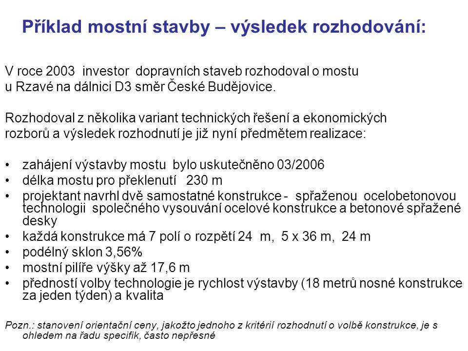 Příklad mostní stavby – výsledek rozhodování: V roce 2003 investor dopravních staveb rozhodoval o mostu u Rzavé na dálnici D3 směr České Budějovice. R