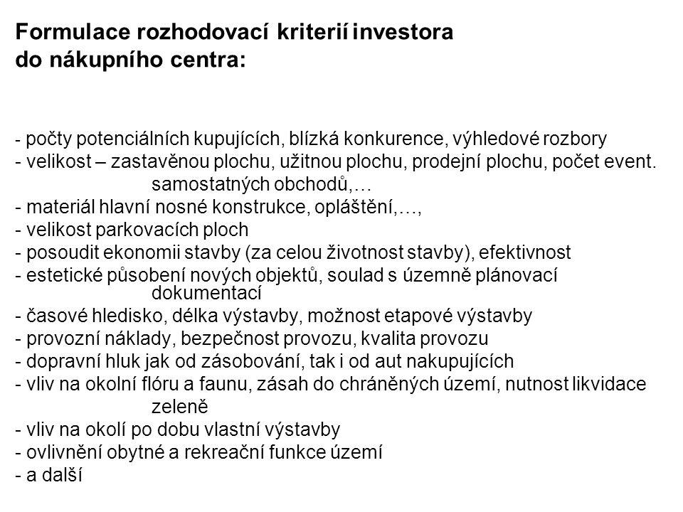 Formulace rozhodovací kriterií investora do nákupního centra: - počty potenciálních kupujících, blízká konkurence, výhledové rozbory - velikost – zast