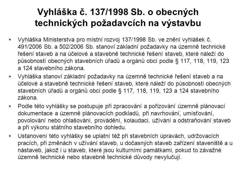 Vyhláška č. 137/1998 Sb. o obecných technických požadavcích na výstavbu Vyhláška Ministerstva pro místní rozvoj 137/1998 Sb. ve znění vyhlášek č. 491/