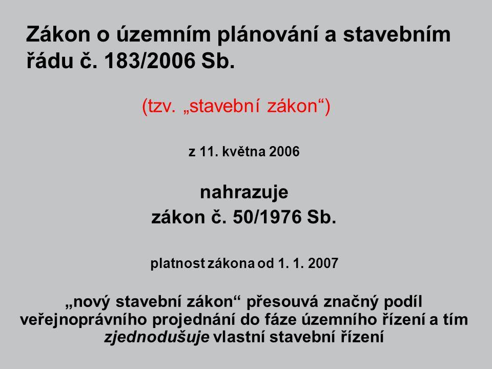"""(tzv. """"stavební zákon"""") z 11. května 2006 nahrazuje zákon č. 50/1976 Sb. platnost zákona od 1. 1. 2007 """"nový stavební zákon"""" přesouvá značný podíl veř"""