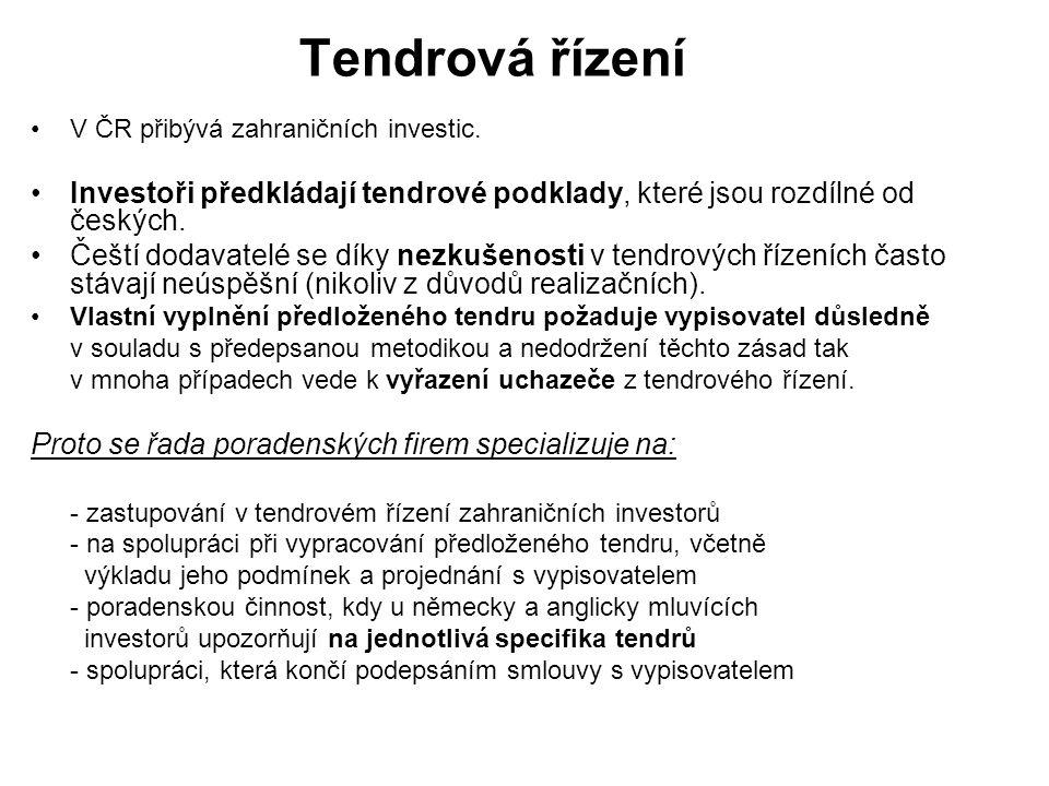Tendrová řízení V ČR přibývá zahraničních investic. Investoři předkládají tendrové podklady, které jsou rozdílné od českých. Čeští dodavatelé se díky
