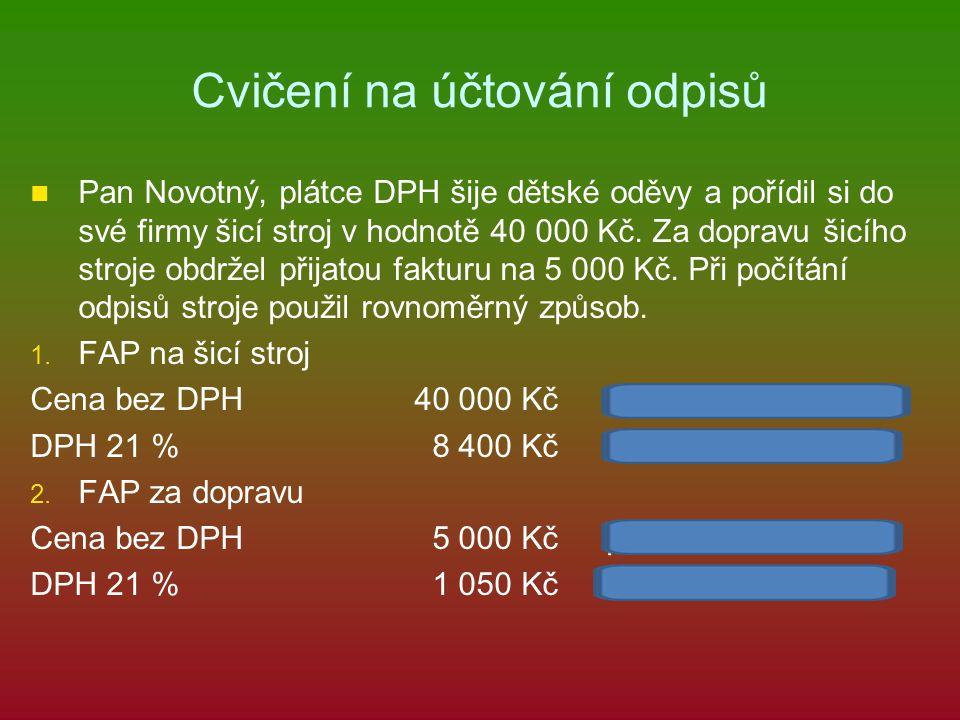 Cvičení na účtování odpisů Pan Novotný, plátce DPH šije dětské oděvy a pořídil si do své firmy šicí stroj v hodnotě 40 000 Kč.