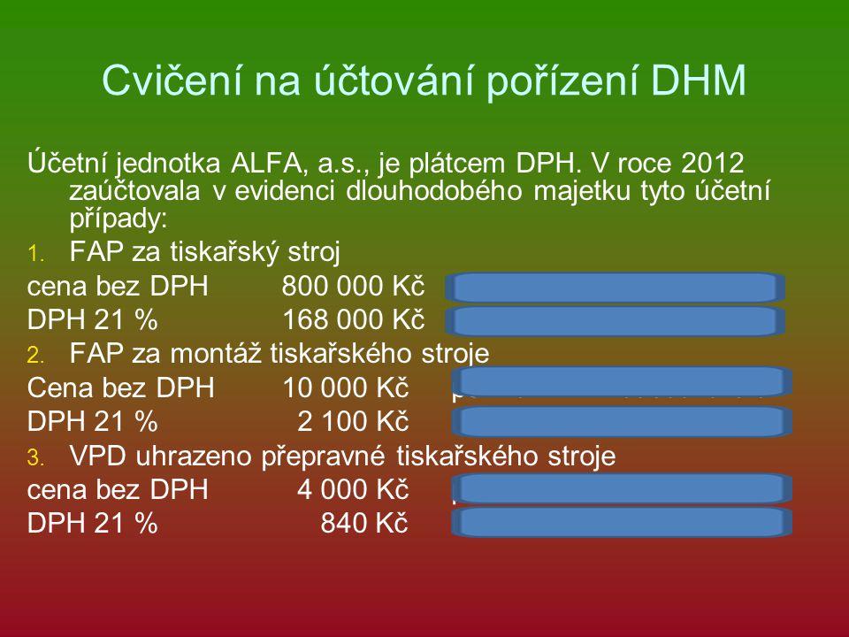 Cvičení na účtování pořízení DHM Účetní jednotka ALFA, a.s., je plátcem DPH.