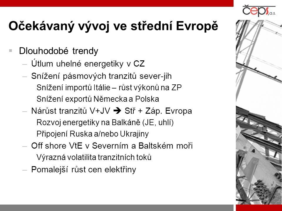 Očekávaný vývoj ve střední Evropě  Dlouhodobé trendy –Útlum uhelné energetiky v CZ –Snížení pásmových tranzitů sever-jih Snížení importů Itálie – růst výkonů na ZP Snížení exportů Německa a Polska –Nárůst tranzitů V+JV  Stř + Záp.