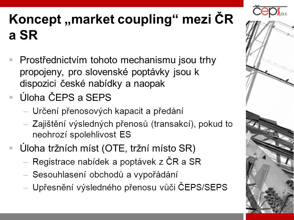 """Koncept """"market coupling mezi ČR a SR  Prostřednictvím tohoto mechanismu jsou trhy propojeny, pro slovenské poptávky jsou k dispozici české nabídky a naopak  Úloha ČEPS a SEPS –Určení přenosových kapacit a předání –Zajištění výsledných přenosů (transakcí), pokud to neohrozí spolehlivost ES  Úloha tržních míst (OTE, tržní místo SR) –Registrace nabídek a poptávek z ČR a SR –Sesouhlasení obchodů a vypořádání –Upřesnění výsledného přenosu vůči ČEPS/SEPS"""