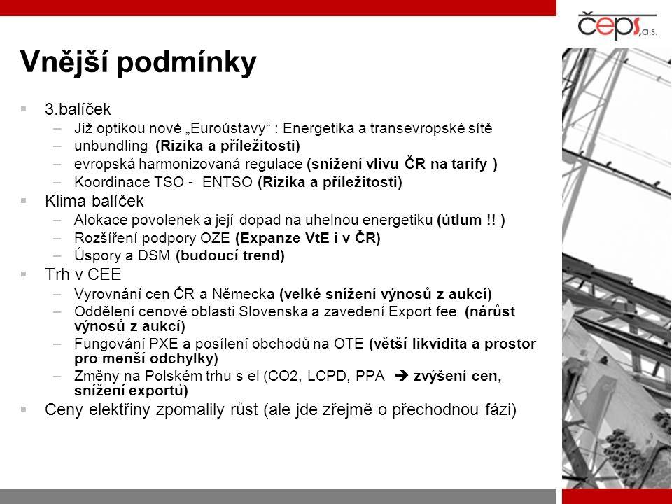 """Vnější podmínky  3.balíček –Již optikou nové """"Euroústavy : Energetika a transevropské sítě –unbundling (Rizika a příležitosti) –evropská harmonizovaná regulace (snížení vlivu ČR na tarify ) –Koordinace TSO - ENTSO (Rizika a příležitosti)  Klima balíček –Alokace povolenek a její dopad na uhelnou energetiku (útlum !."""