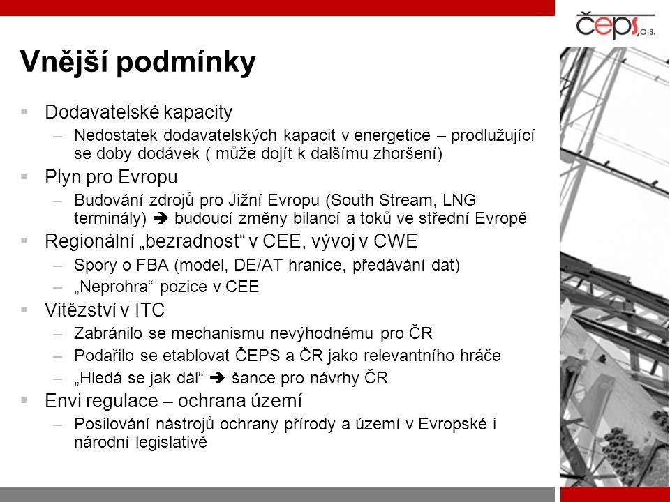 """Vnější podmínky  Dodavatelské kapacity –Nedostatek dodavatelských kapacit v energetice – prodlužující se doby dodávek ( může dojít k dalšímu zhoršení)  Plyn pro Evropu –Budování zdrojů pro Jižní Evropu (South Stream, LNG terminály)  budoucí změny bilancí a toků ve střední Evropě  Regionální """"bezradnost v CEE, vývoj v CWE –Spory o FBA (model, DE/AT hranice, předávání dat) –""""Neprohra pozice v CEE  Vitězství v ITC –Zabránilo se mechanismu nevýhodnému pro ČR –Podařilo se etablovat ČEPS a ČR jako relevantního hráče –""""Hledá se jak dál  šance pro návrhy ČR  Envi regulace – ochrana území –Posilování nástrojů ochrany přírody a území v Evropské i národní legislativě"""