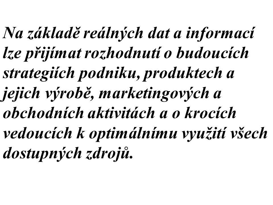Na základě reálných dat a informací lze přijímat rozhodnutí o budoucích strategiích podniku, produktech a jejich výrobě, marketingových a obchodních a