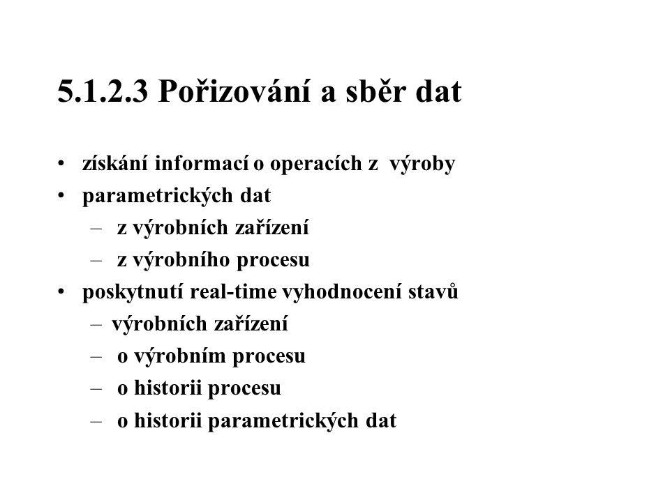 5.1.2.3 Pořizování a sběr dat získání informací o operacích z výroby parametrických dat – z výrobních zařízení – z výrobního procesu poskytnutí real-t