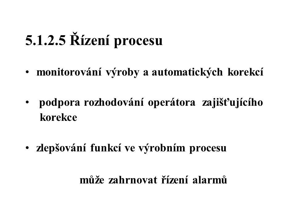 5.1.2.5 Řízení procesu monitorování výroby a automatických korekcí podpora rozhodování operátora zajišťujícího korekce zlepšování funkcí ve výrobním p