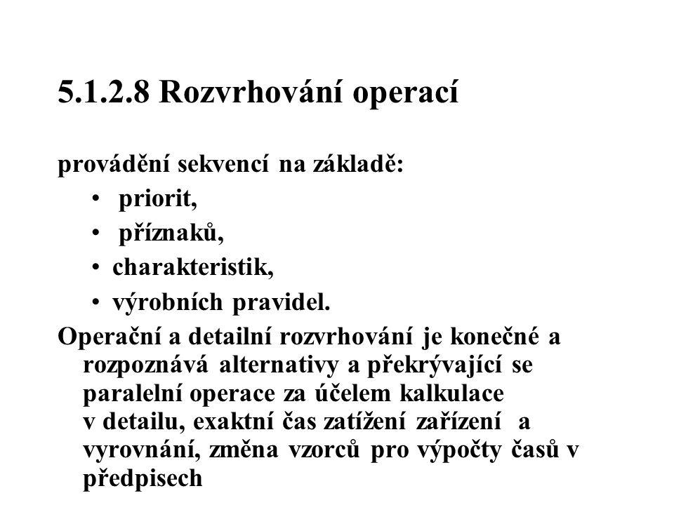 5.1.2.8 Rozvrhování operací provádění sekvencí na základě: priorit, příznaků, charakteristik, výrobních pravidel. Operační a detailní rozvrhování je k
