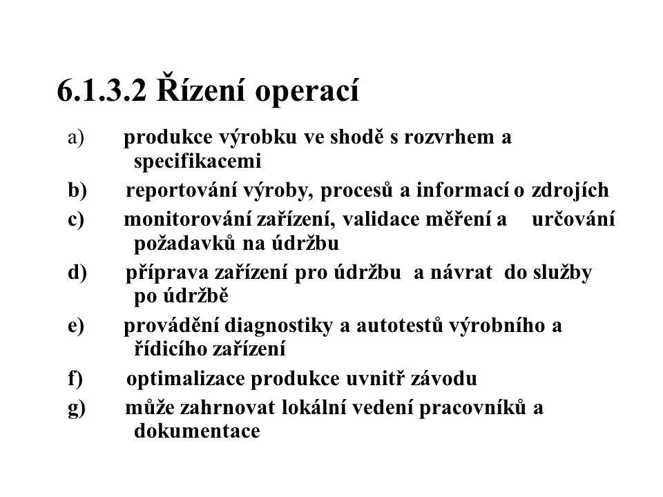 6.1.3.2 Řízení operací a) produkce výrobku ve shodě s rozvrhem a specifikacemi b) reportování výroby, procesů a informací o zdrojích c) monitorování z