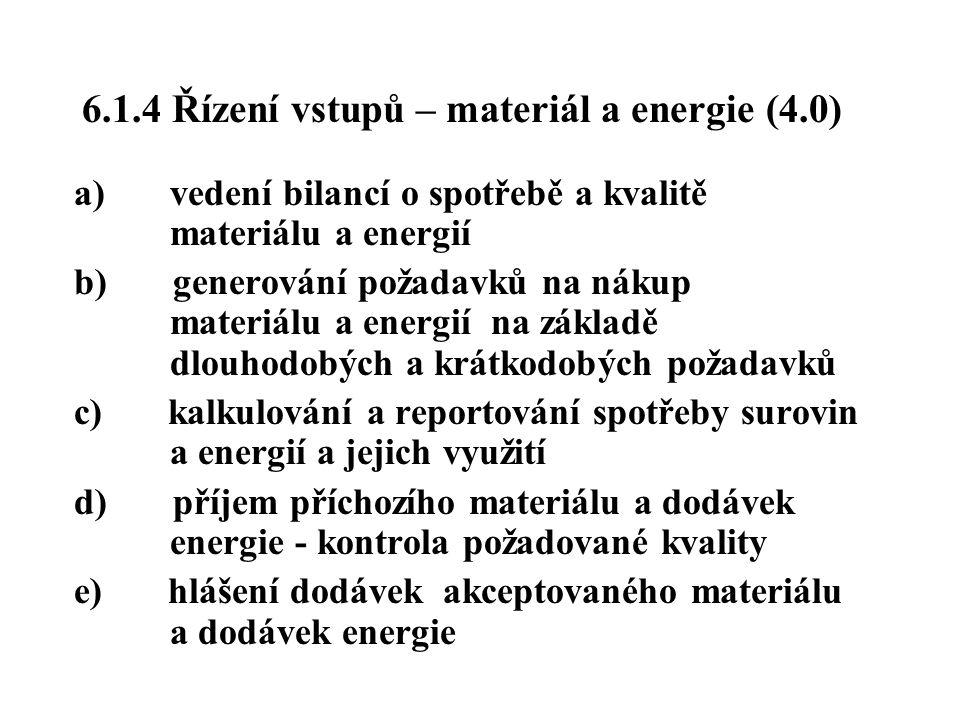 6.1.4 Řízení vstupů – materiál a energie (4.0) a) vedení bilancí o spotřebě a kvalitě materiálu a energií b) generování požadavků na nákup materiálu a