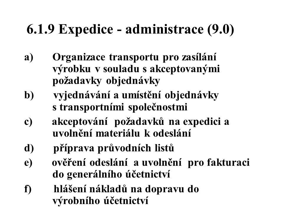 6.1.9 Expedice - administrace (9.0) a) Organizace transportu pro zasílání výrobku v souladu s akceptovanými požadavky objednávky b) vyjednávání a umís