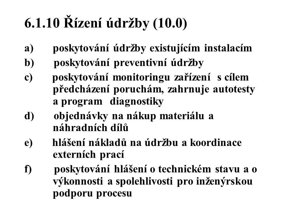 6.1.10 Řízení údržby (10.0) a) poskytování údržby existujícím instalacím b) poskytování preventivní údržby c) poskytování monitoringu zařízení s cílem