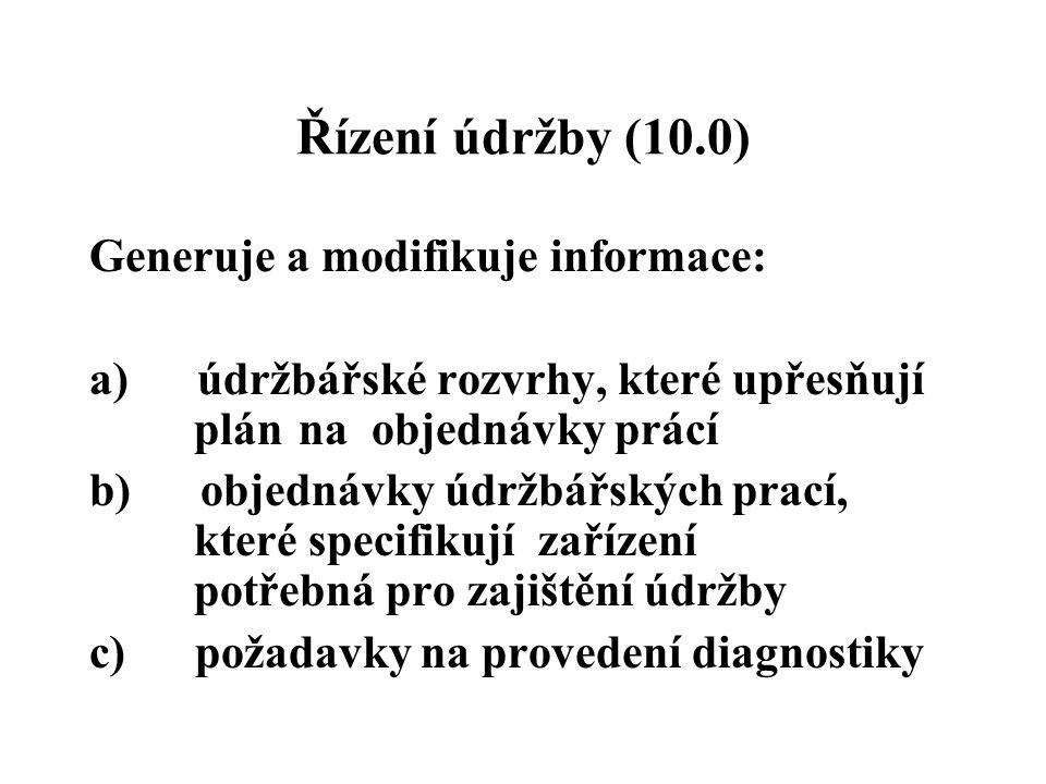 Řízení údržby (10.0) Generuje a modifikuje informace: a) údržbářské rozvrhy, které upřesňují plán na objednávky prácí b) objednávky údržbářských prací