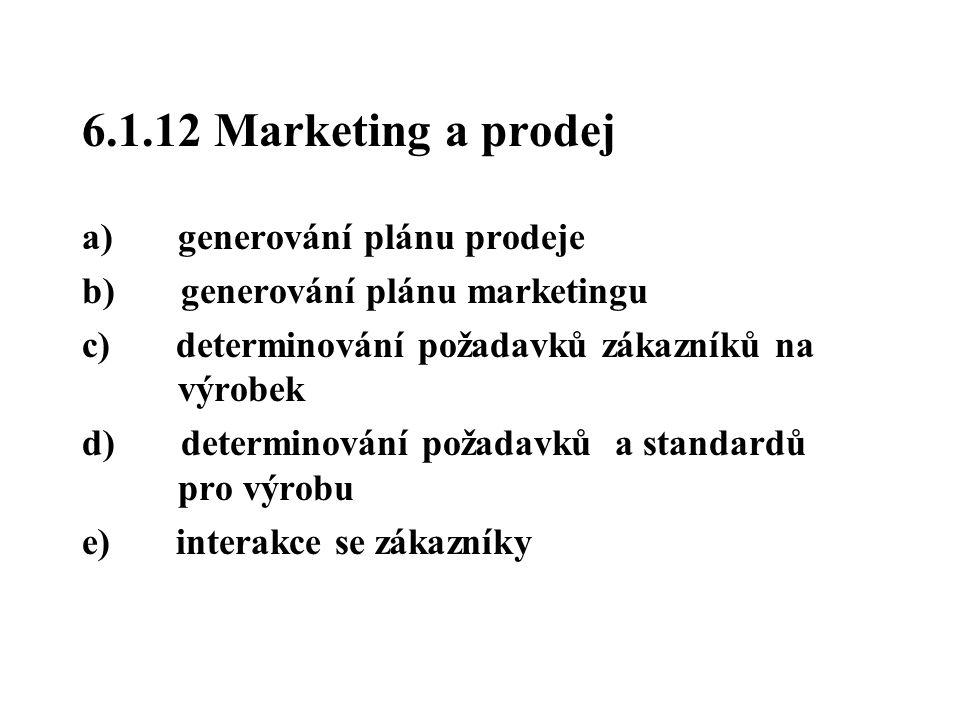 6.1.12 Marketing a prodej a) generování plánu prodeje b) generování plánu marketingu c) determinování požadavků zákazníků na výrobek d) determinování